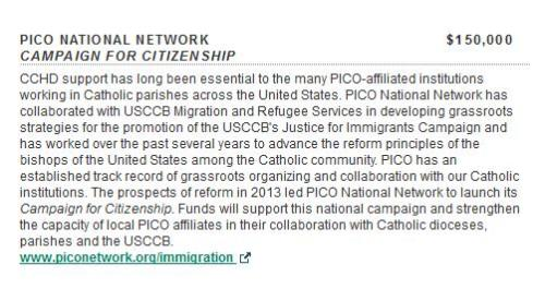 CCHD grant to PICO per USCCB website